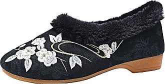 ICEGREY Womens Embroidered Shoes Fleece Lined Chinese Style Loafer Flats Plum Black 5.5