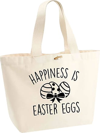 Flox Creative Organic Cotton Heavyweight Tote Bag Happiness is Easter Eggs