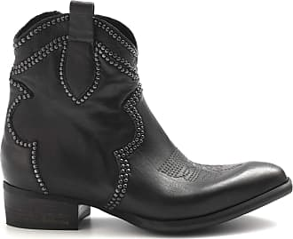 Zoe Black Texan Leather Boots with Studs and Embroidery - New Metal Tex Kangaroo Blk - Size Black Size: 3 UK