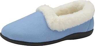 Dunlop Sandie Fur Collar Collared Fleecy Lining Ladies Full Slippers (3 UK, Blueberry)