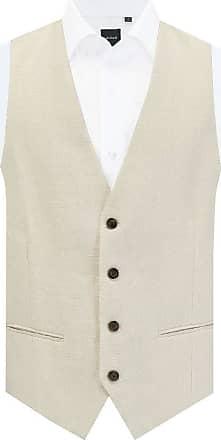 Dobell Mens Cream Waistcoat Regular Fit 100% Linen 4 Button-L (42-44in)