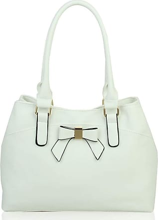 LeahWard Womens Bow Shoulder Bags Large School Handbags R08 (White)