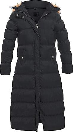 Womens Puffer Jacket Padded Parka Faux Fur Coat Plus Size 18 20 22 16 14 Black