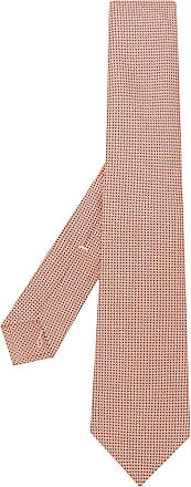 Kiton Gravata com padronagem geométrica - Laranja