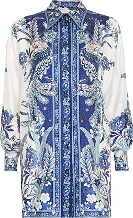 Zimmermann Camisa Glassy Placement Estampada - Mulher - Azul - 1 AU