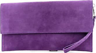 modamoda.de Modamoda de - ital. Leather bag Clutch Underarm bag Evening bag City bag suede T151, Colour:purple