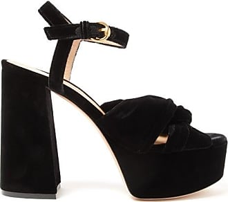 Gianvito Rossi Poppy 70 Knotted Velvet Platform Sandals - Womens - Black