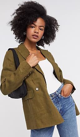 Whistles linen double breasted blazer in khaki-Green
