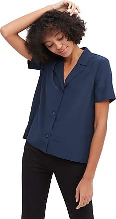 LilySilk 100% Silk Shirt for Women V Neck Half-Sleeve Notched Collar Blouse Lady Navy Blue, S