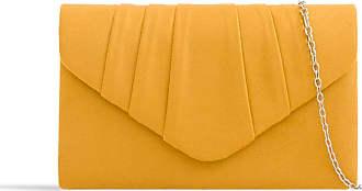 LeahWard Womens Suede Glitter Clutch Handbags Purse Wedding Bags Evening Handbags 308 (Mustard)