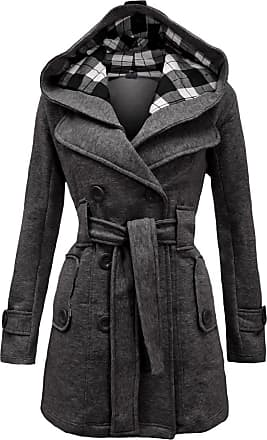 Noroze Womens Black Long Sleeve Belted Button Coat Hood Plus Size Jackets Size 8 10 12 14 16 18 20 (XL(14), Carcoal Grey)