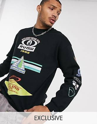 Reclaimed Vintage sweat with front repeat print-Black