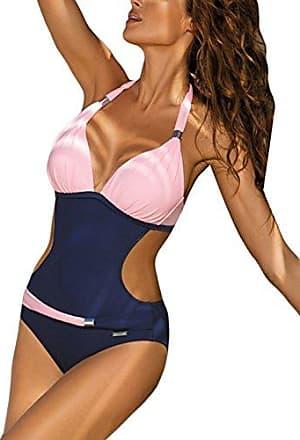 Damen Tropical Monokini Bikini Einteiliger Padded Rückenfrei Bademode Badeanzug