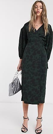 Topshop wrap dress with oversized sleeves in green floral print-Multi