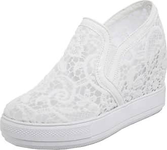 RAZAMAZA Women Summer Fashion Platform Sneakers Shoes Slip On White Size 33 Asian