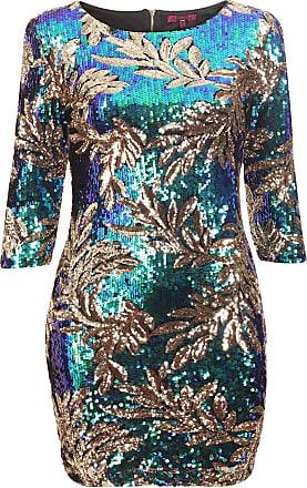 Momo & Ayat Fashions Ladies Girls Sequined Gold Leaf Print Embellished Bodycon Dress Plus Size UK 16-24 (UK 22 (EUR 50), Multi Leaf)