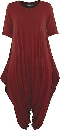 Top Fashion18 Women Short Sleeve Baggy Legenlook Hareem Jumpsuit Dress Wine