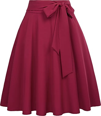 Belle Poque Vintage 1950s Elegant Front Tie High Waist Plain Tea Skirts for Womens Wine(561-2) XX-Large