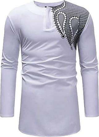NPRADLA Mens Daily Casual Autumn Winter African Print Blouse Sweatshirt Long Sleeve Dashiki Shirt Top Blouse White