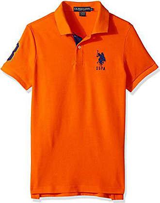 U.S.Polo Association Mens Slim Fit Solid Short Sleeve Pique Polo Shirt, Light House Orange-6543, Large
