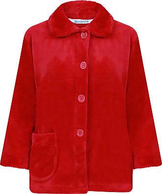 Slenderella Ladies 3/4 Sleeve Medium Soft Red Soft Coral Fleece Button Up Bed Jacket Coat Size 12 14