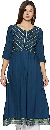 Aurelia Womens Cotton A-Line Kurta (19FEA10705-700310_ Blue_ X-Large)