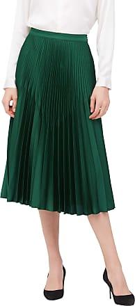 LilySilk Pleated Midi Silk Skirt for Women Long Soft Vintage Ladies Bottoms Retro Party Skirt Green Jade M