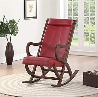 ACME ACME Furniture 59536 Triton Rocking Chair Burgundy PU and Walnut