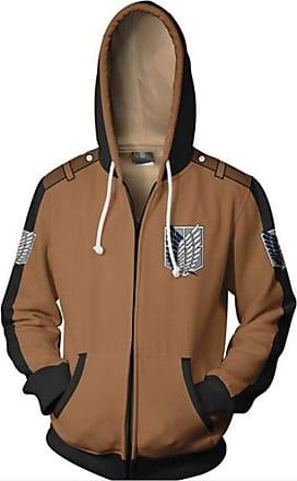 Cosstars Attack on Titan Anime Hoodie Jacket Adult Cosplay AOT Zip-up Hooded Sweatshirt Coat Jumpers Brown XL