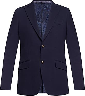 Etro Blazer With Peaked Lapels Mens Navy Blue