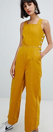 Asos denim jumpsuit with side buttons in mustard - Yellow