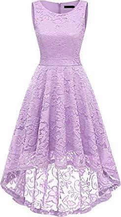 e33a13cf034e5 Dresstells Damen Elegant Kleider Vokuhila Kleid Ärmellos Spitzenkleid  Cocktail Partykleid Lavender 2XL