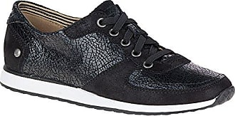 Hush Puppies Womens Chazy Dayo Flat, Black Crackled Leather, 5.5 M US