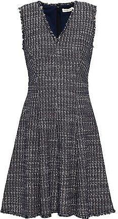 Rebecca Taylor Rebecca Taylor Woman Frayed Cotton-blend Tweed Mini Dress Navy Size 10