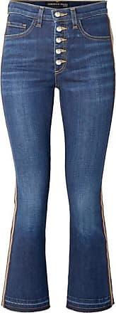 Veronica Beard Carolyn Cropped Grosgrain-trimmed High-rise Bootcut Jeans - Indigo