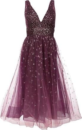 Marchesa plunge neck foil dress - Pink