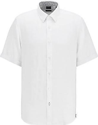BOSS Regular-Fit Kurzarm-Hemd aus Leinen-Chambray