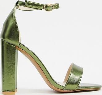 Glamorous Filigrane Absatzschuhe in Metallic-Grün