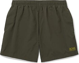 7cf29ac034 HUGO BOSS Short-length Logo-embroidered Swim Shorts - Green