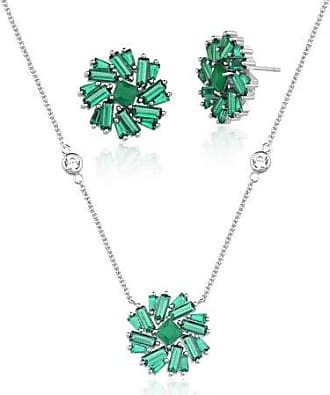 Vivid Conjunto Vivid Flor Verde Semi Joia