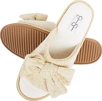 Jessica Simpson Womens Plush Open Toe Slide On House Slipper with Bow, Yellow, L