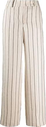 PESERICO Calça cintura alta com listras - Marrom