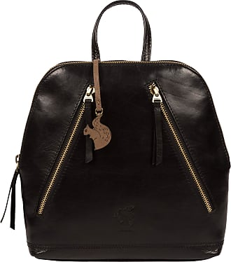 Pure Luxuries London Conkca London Zoe Womens 24cm Biodegradable Leather Backpack with Zip Round Top, 100% Cotton Lining and Adjustable Webbed Canvas Straps in Black B246