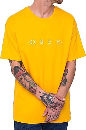 Obey Mens Novel SS Basic TEE T-Shirt, Gold, S