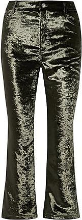 Opening Ceremony Opening Ceremony Woman Crushed-velvet Kick-flare Pants Dark Green Size 6