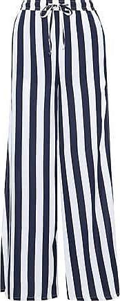 Onia Onia Woman Chloe Striped Poplin Wide-leg Pants Navy Size S