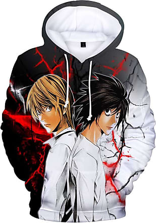 Haililais Death Note Pullover Unisex Sweatshirt Winter Hooded Parent-Child wear Tops Anime Printed Pullover Unisex (Color : A08, Size : 175)
