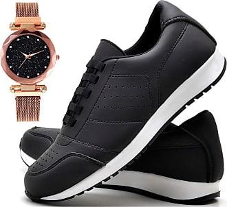 Juilli Tênis Sapato Casual Com Relógio Pulseira fechamento magnético Feminino JUILLI 1102DB Tamanho:34;cor:Preto;gênero:Feminin