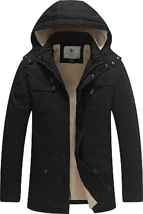 WenVen Mens Padded Cotton Military Jacket with Hood Black Medium