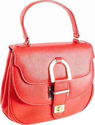 42794231ad7e Oscar De La Renta Vintage Oscar De La Renta Red Leather Top Handle Double  Flap Saddle